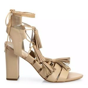 Loeffler Randall Tassel Heels in Wheat, New, Sz 8!